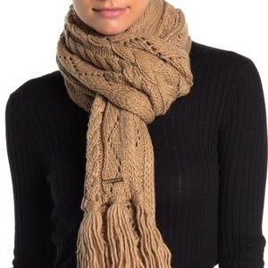 Michael Kors Cable knit scarf Pointelle -Camel